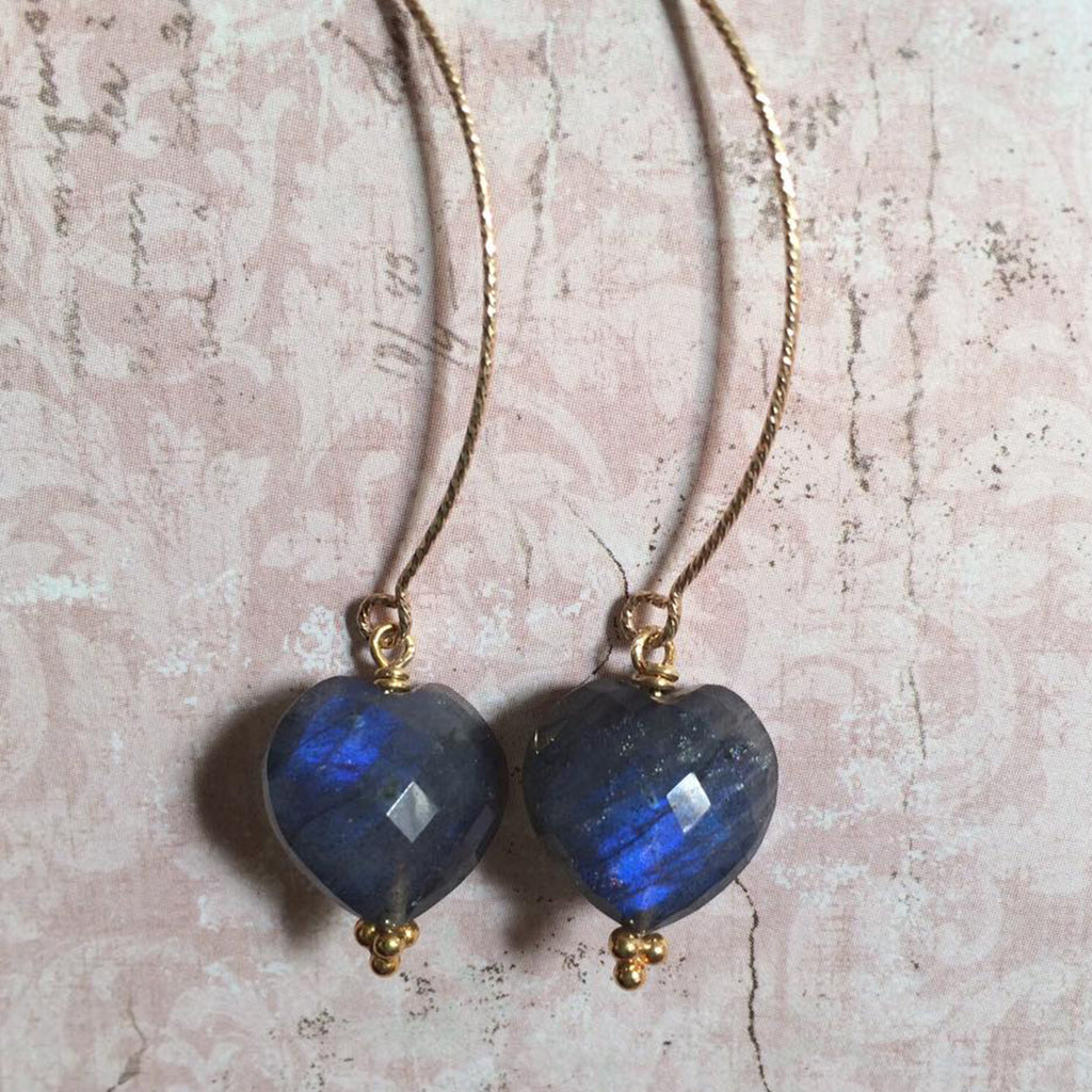 Midnight Labradorite Arch Earrings
