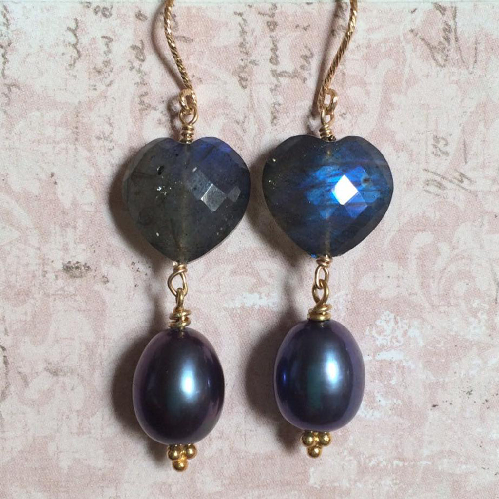 Midnight Labradorite and Pearl Earrings