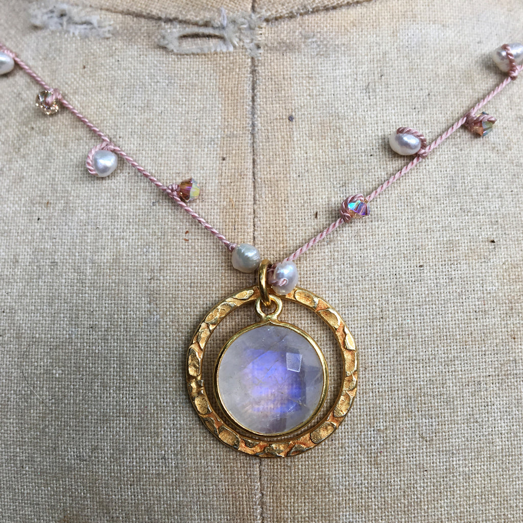 Moonstone Halo on Dotted Necklace