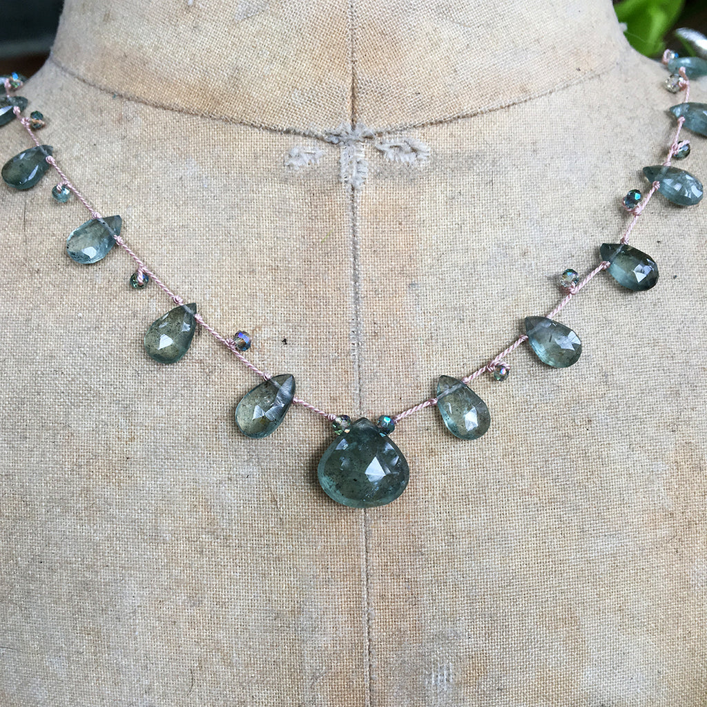 Moss Aqua Briolettes and Crystals Dotted on Silk Necklace