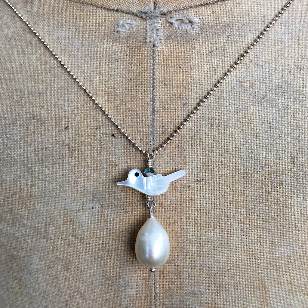 Mother of Pearl Bird and Drop Pearl Necklace