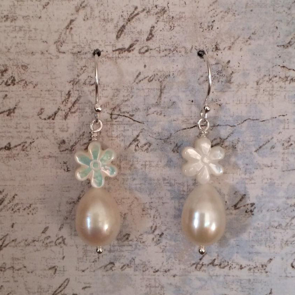 Mother of Pearl Daisy and Pearl Drops Earrings