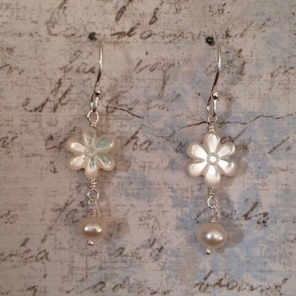 Mother of Pearl Daisy and Small Pearl Drops Earrings