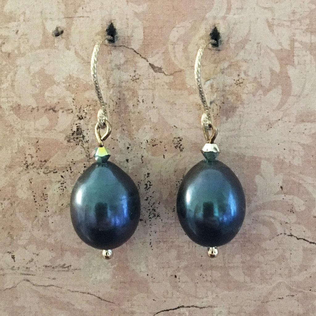 Navy Pearl Drop Earrings