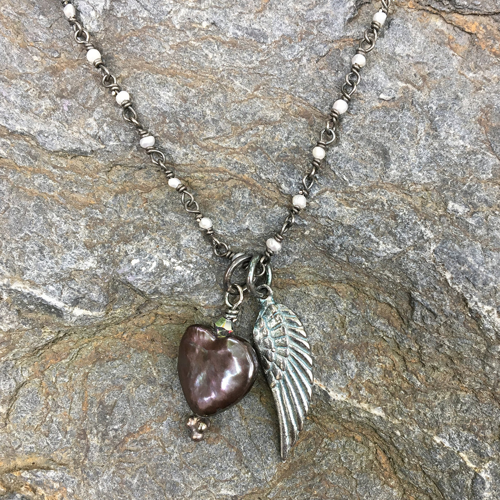 Oxidised Angel Wing with Dark Pearl Heart Necklace