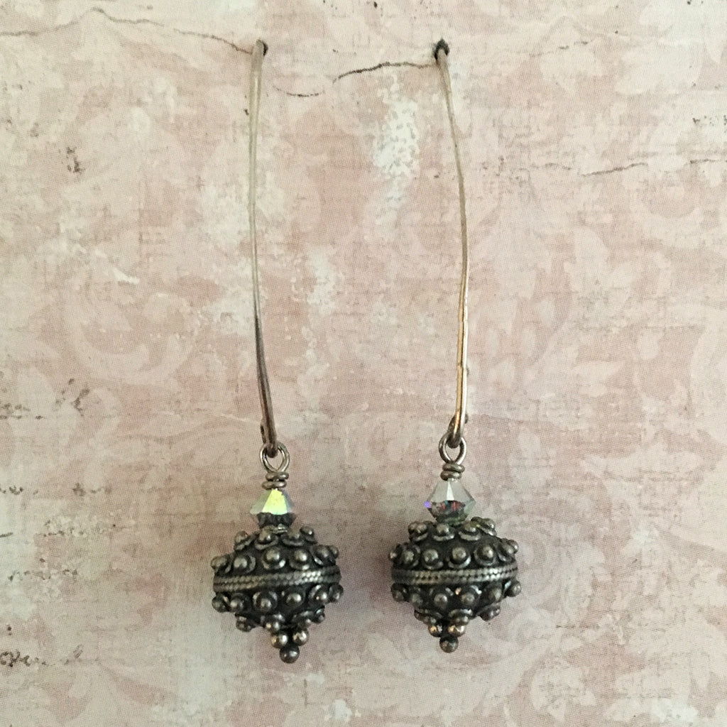 Oxidised Bali Bead Arc Earrings