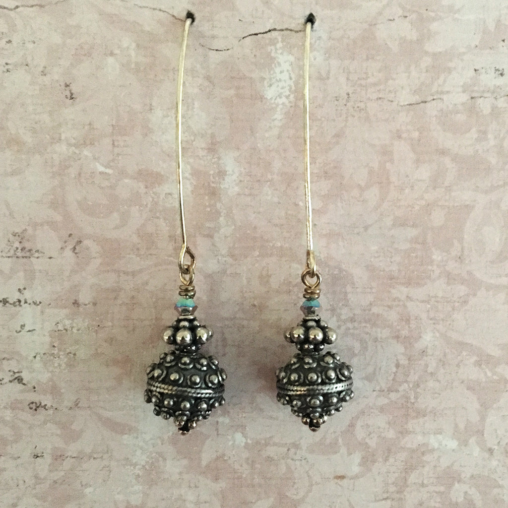 Oxidised Extended Bali Bead Earrings