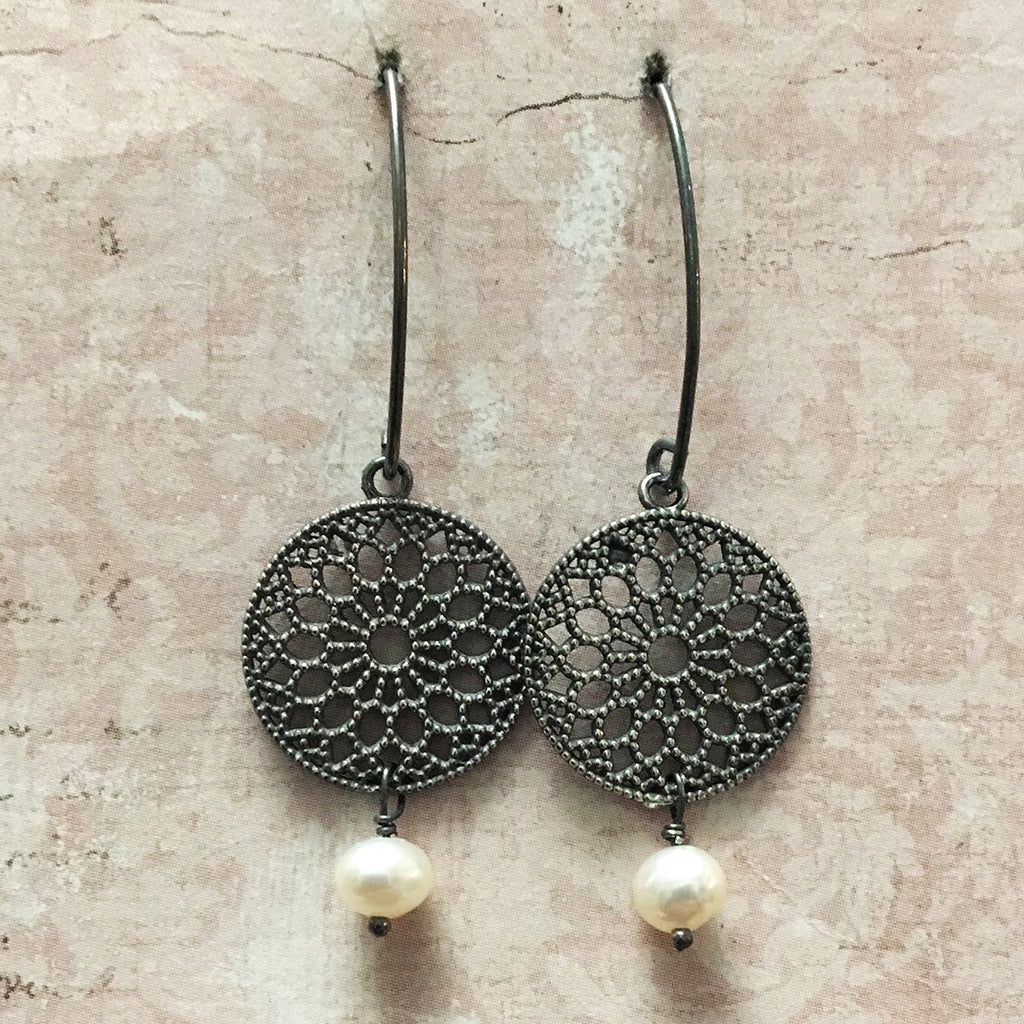 Oxidised Filigree Disc and Pearl Earrings