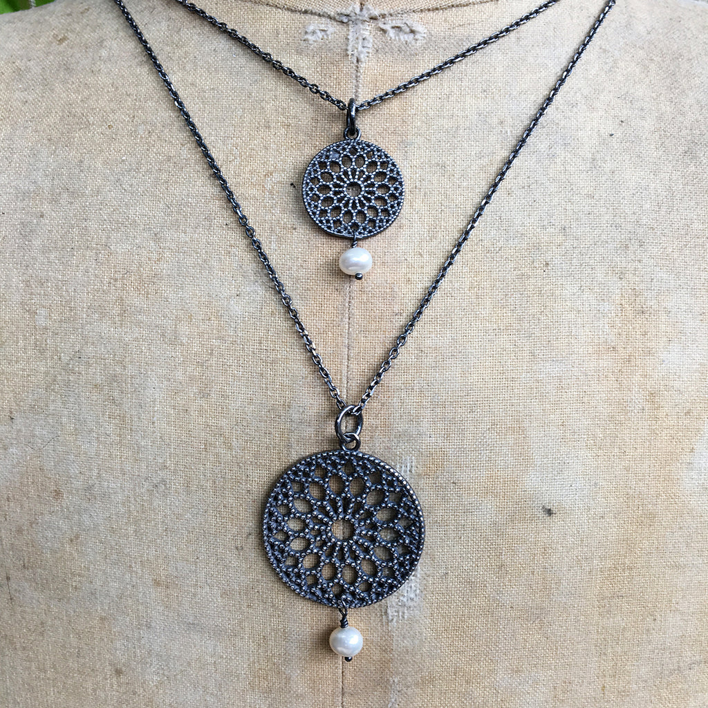 Large Oxidised Filligree Pendant with Drop Pearl Necklace