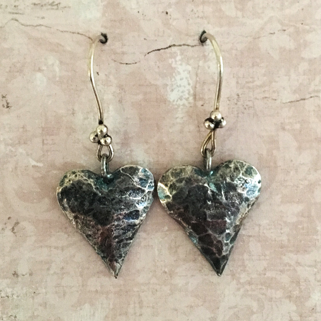 Oxidised Heart Earrings