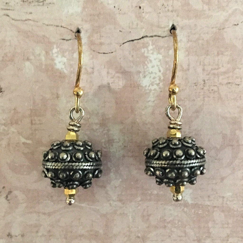 Oxidised Medium Bali Bead Earrings