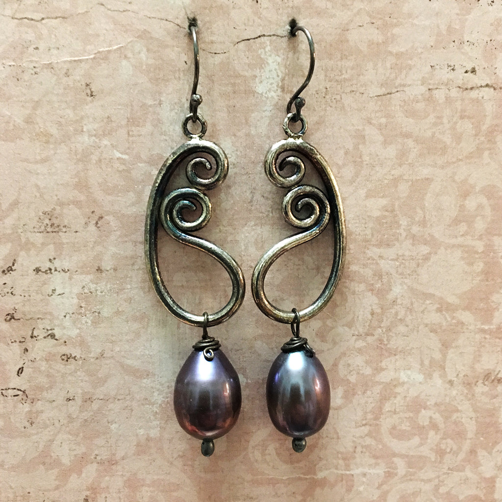 Oxidised Paisley and Drop Pearl Earrings