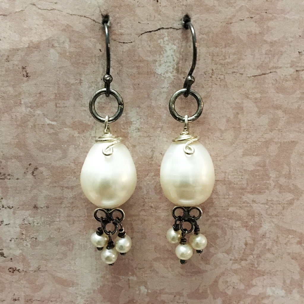 Oxidised Silver and Drop Pearl Earrings
