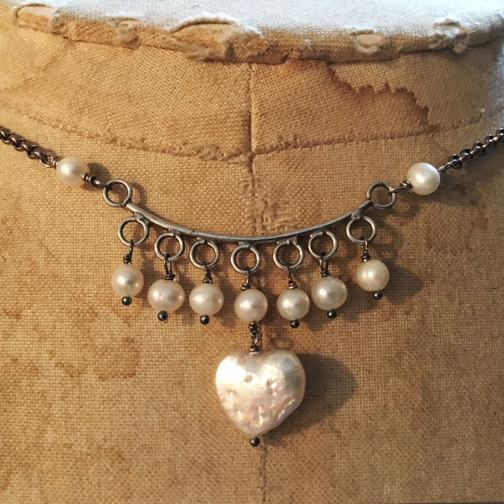 Oxidised Silver and Pearl Heart Ethnic Necklace