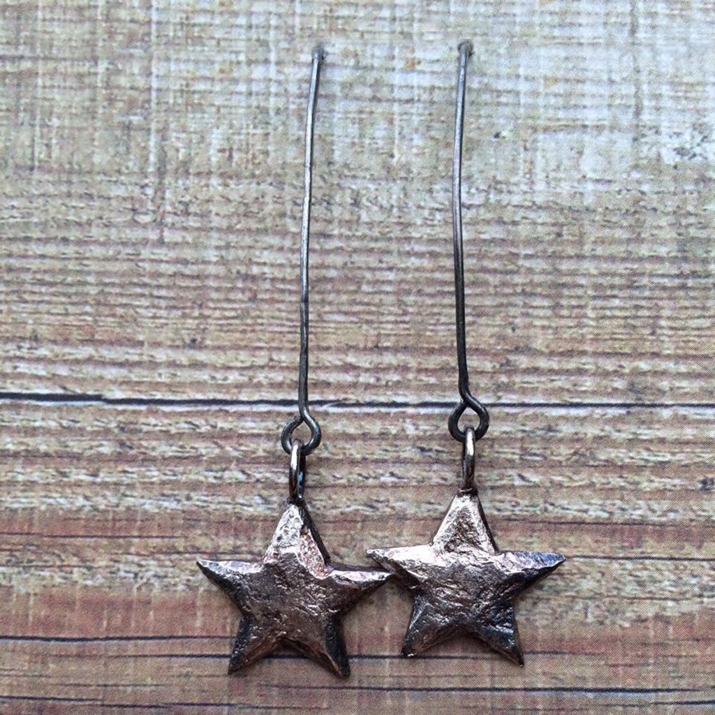 Oxidised Silver Plated Stars on Arches Earrings