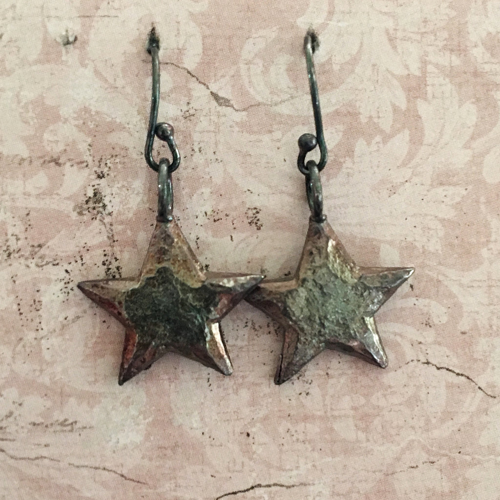 Oxidised Small Star Earrings