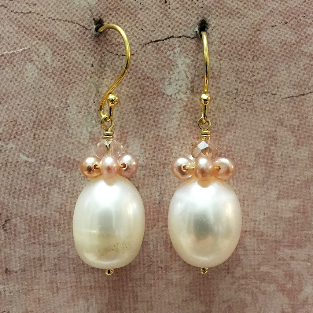 Pearl and Crystal Collared Pearl Earrings