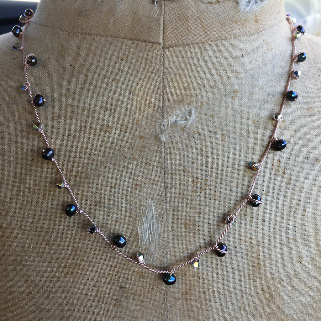 Pearl and Crystal Dotted Necklace