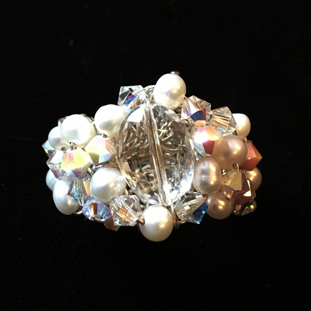 Pearl and Crystal Encrusted Rock Crystal Ring