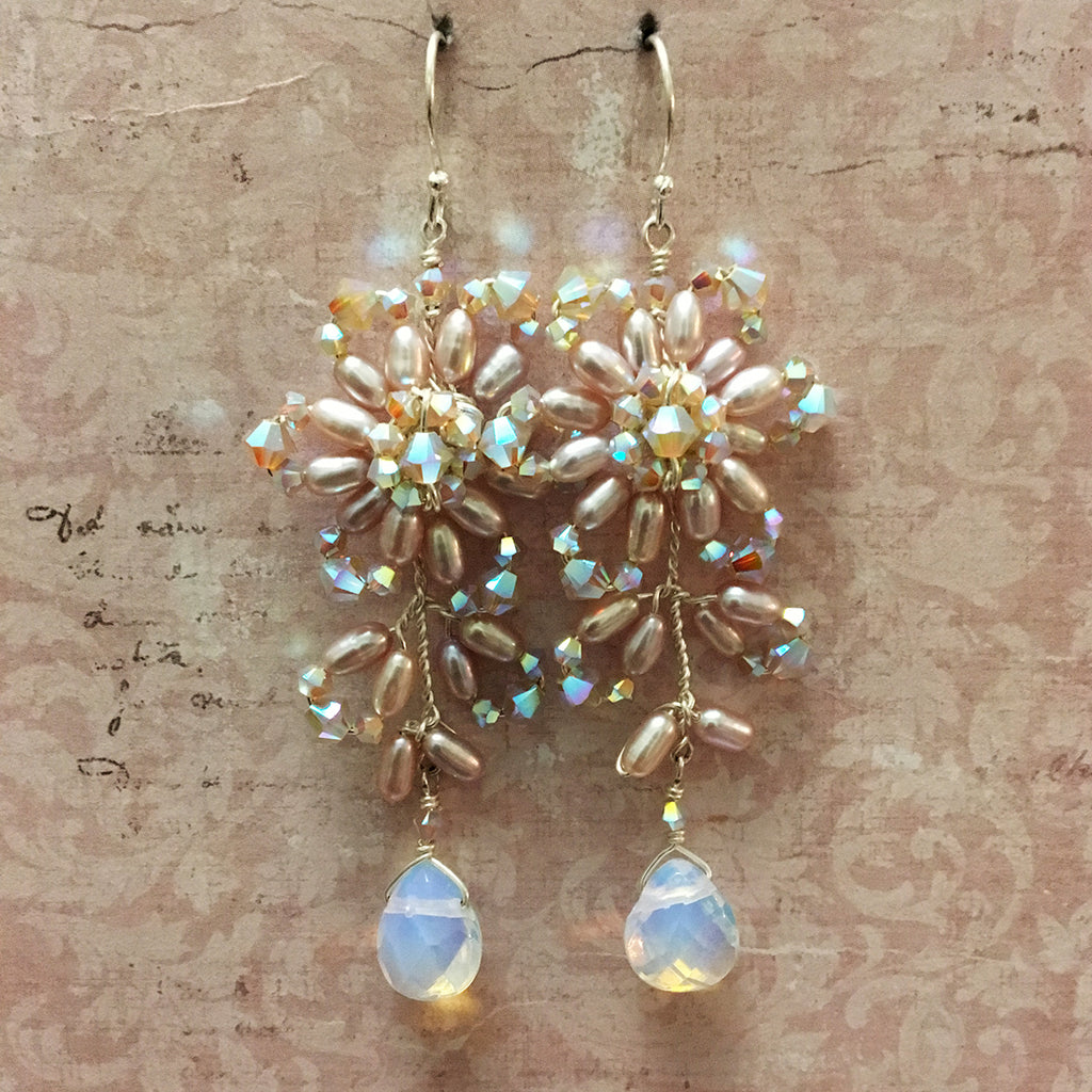 Pearl Crystal and Opalite Earrings