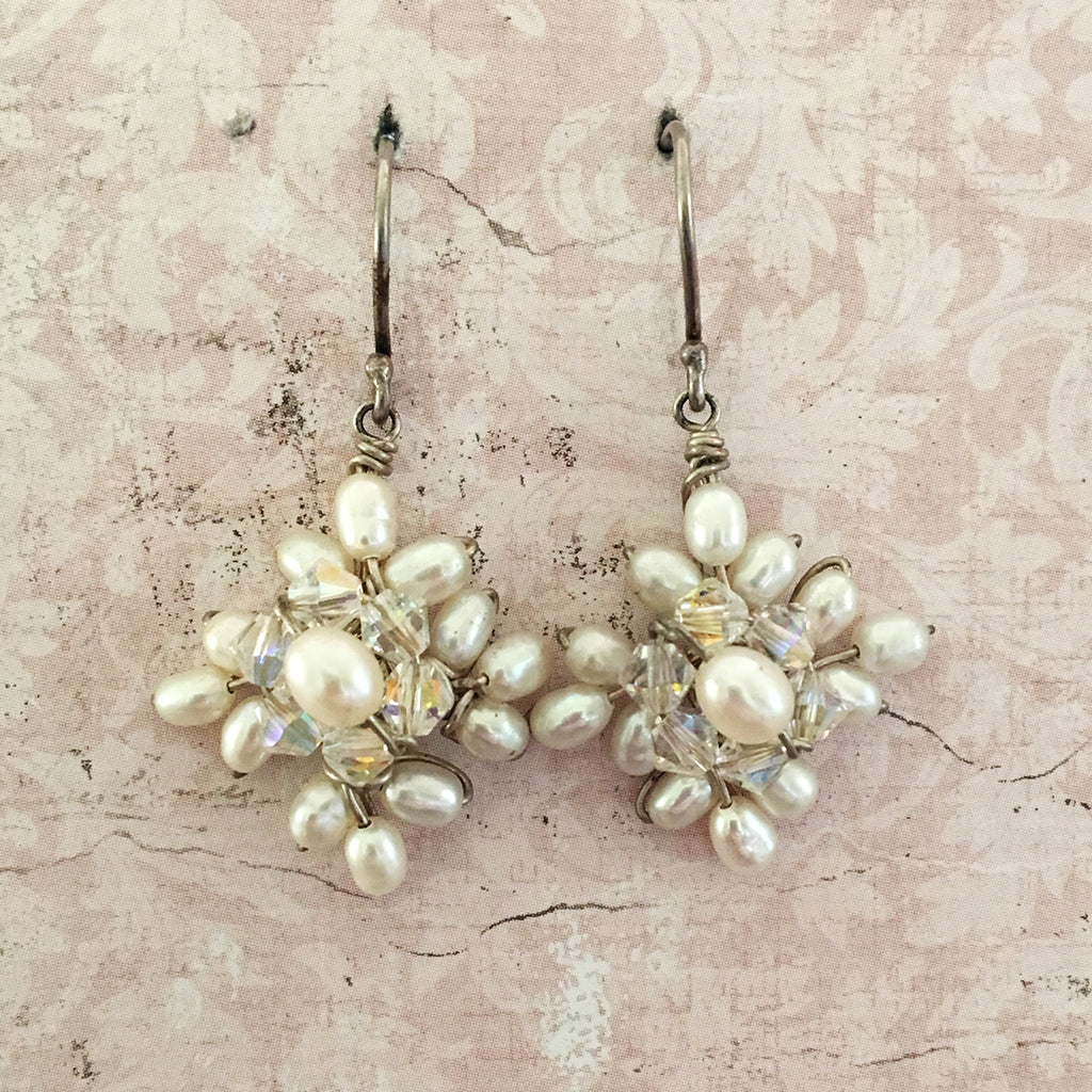 Pearl and Crystal Square Earrings