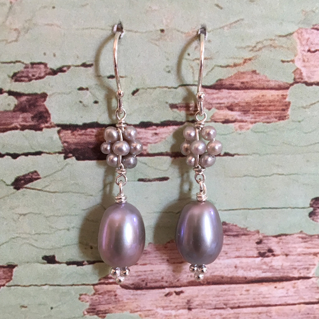 Pearl Daisy and Drop Earrings