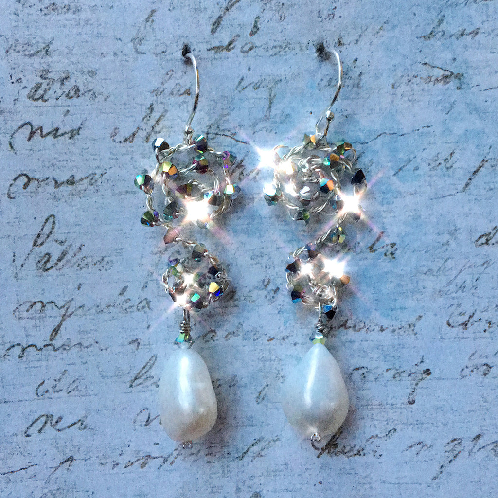 Pearl Earrings On Medium Crystal Scroll
