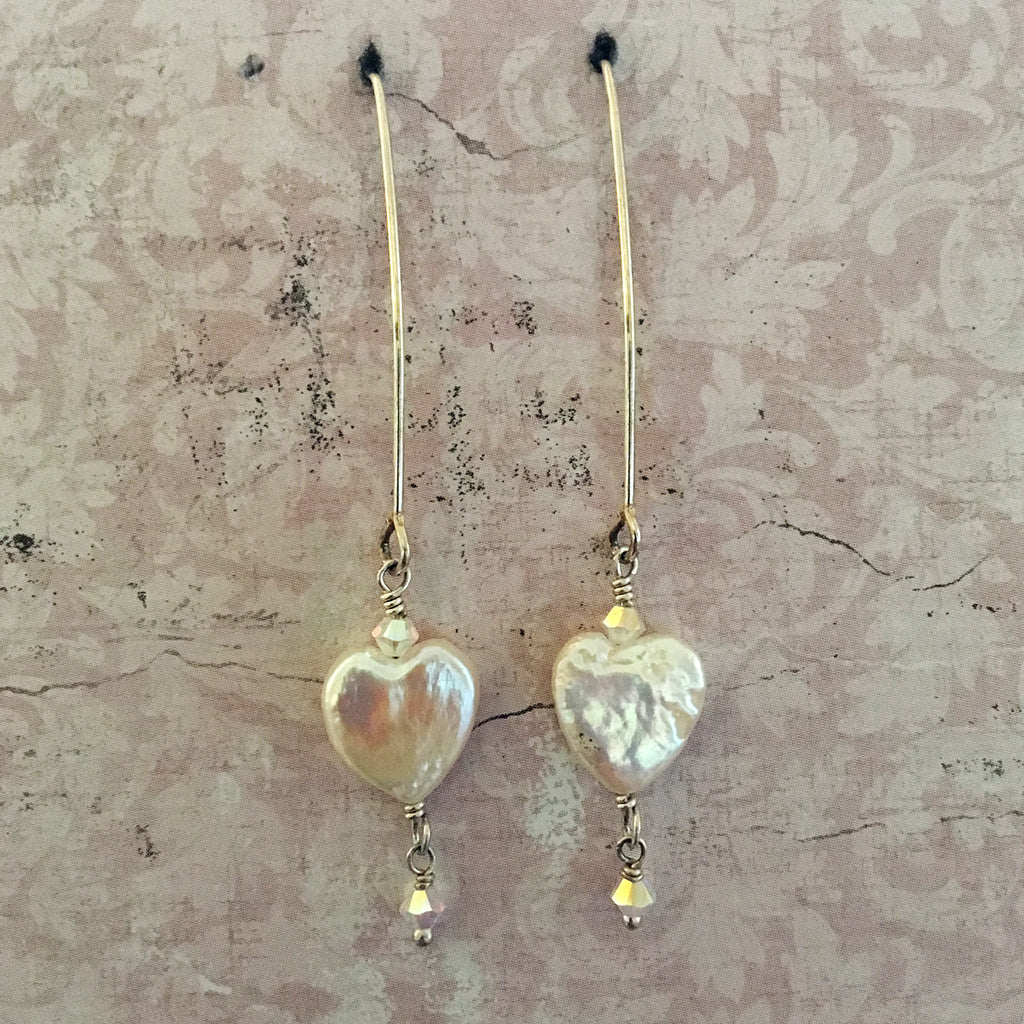 Pearl Heart Arc Earrings
