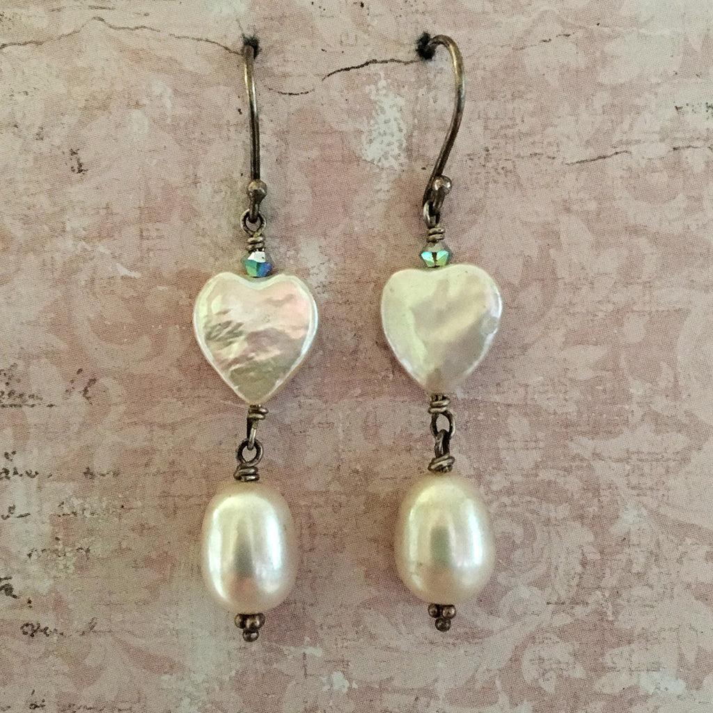 Pearl Heart and Drop Earrings