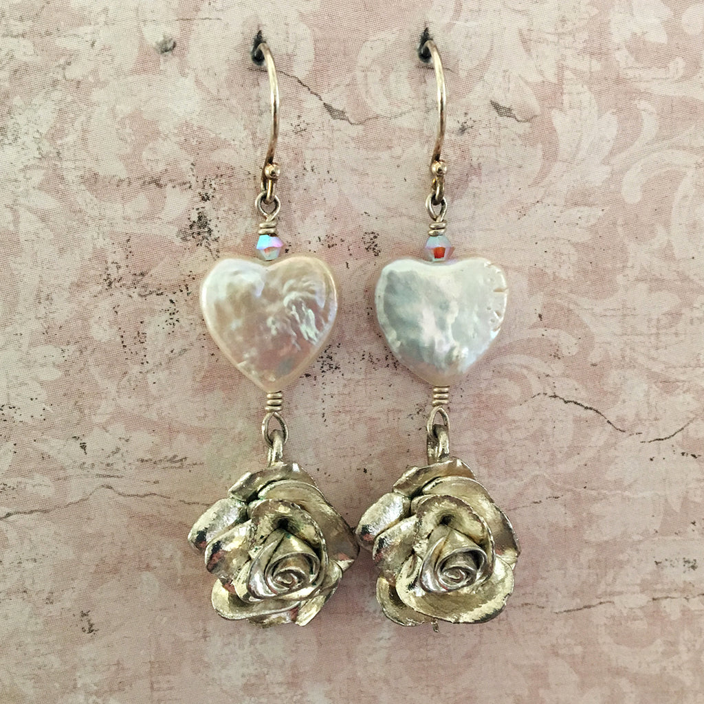Pearl Heart and Rose Earrings
