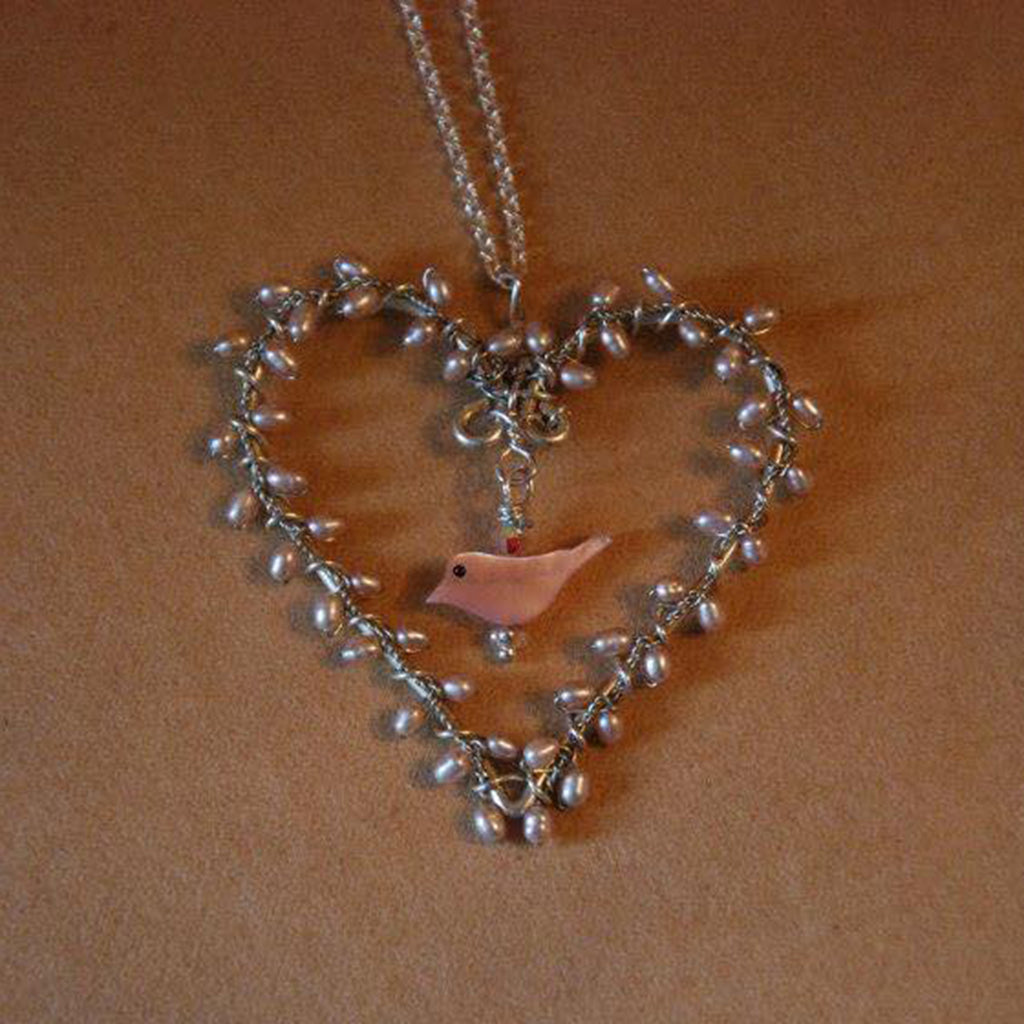 Pearl Heart Wreath Bird Necklace