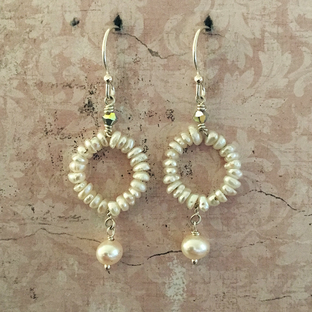 Pearl Hoop and Drop Pearl Earrings