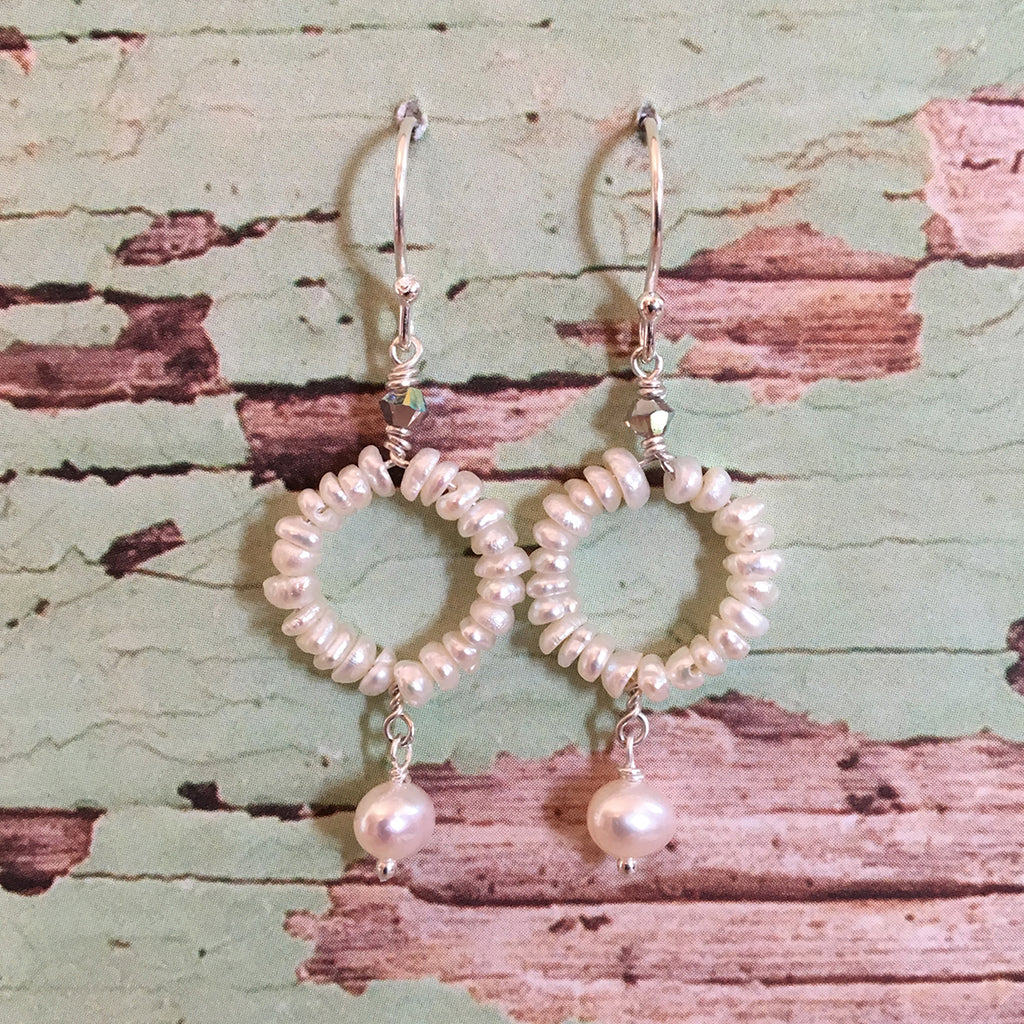 Pearl Hoop and Drop Earrings