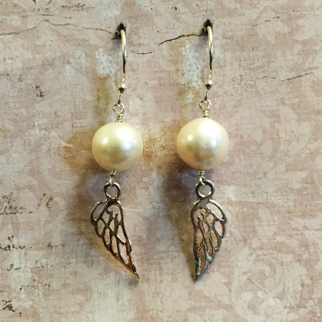 Pearl and Silver Angel Wing Earrings