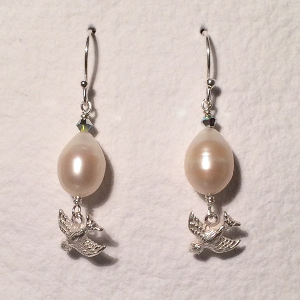Pearl Silver Bird Earrings