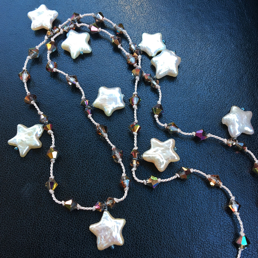 Pearl Star and Bronze Crystal Dotted Necklace