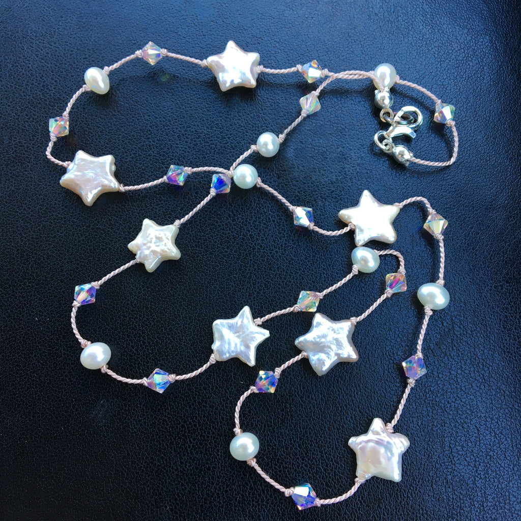 Pearl Star and Crystal Dotted Necklace