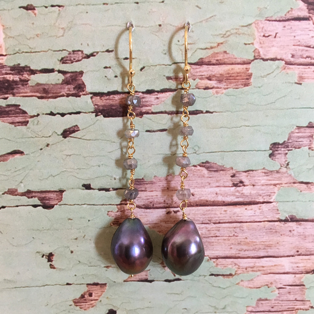 Pearl and Labradorite Drop Earrings