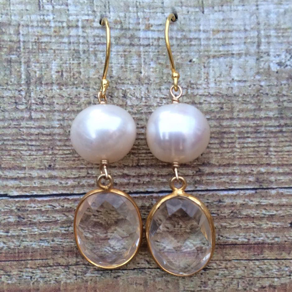 Pearl and Quartz Earrings
