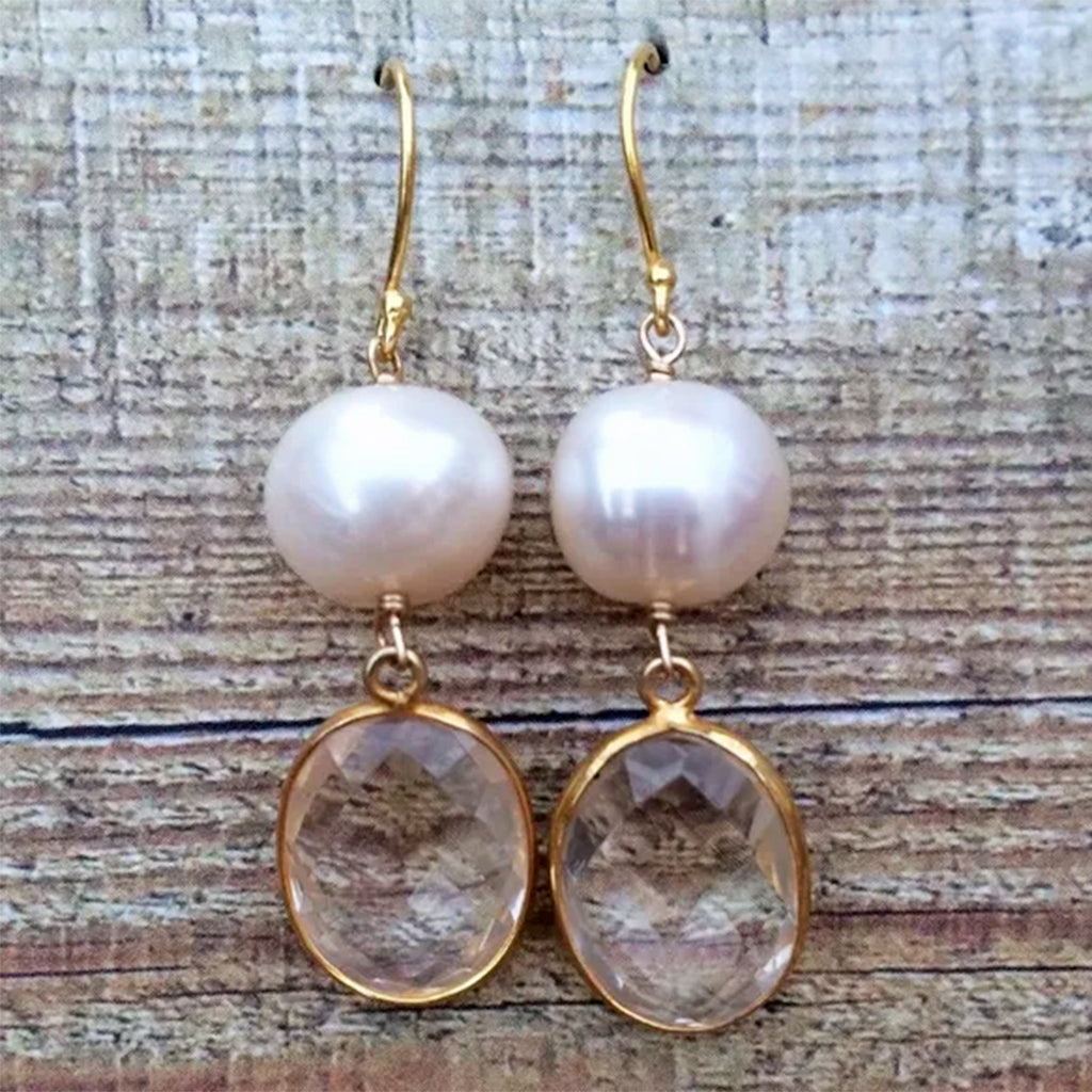 Pearl and Quartz Earrings on Gold-Plated Sterling Silver