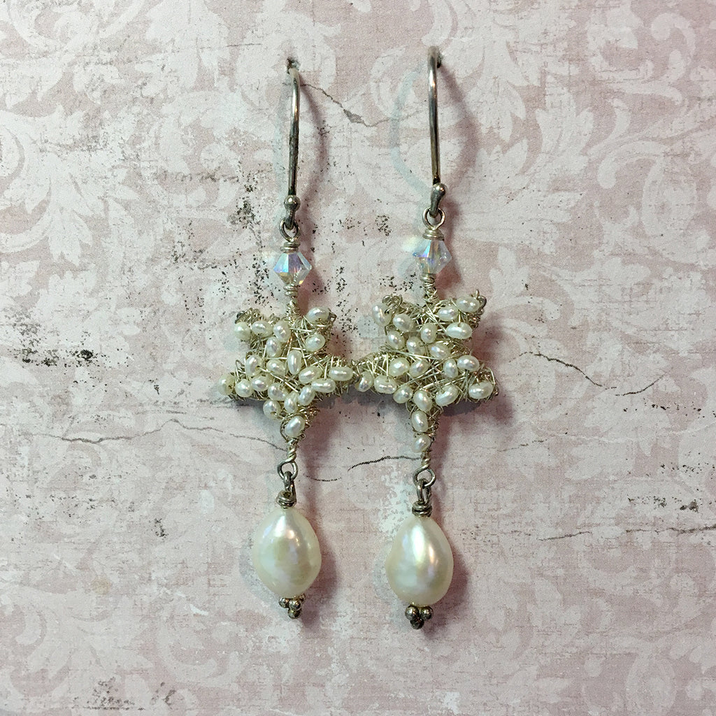 Pearls Star Earrings