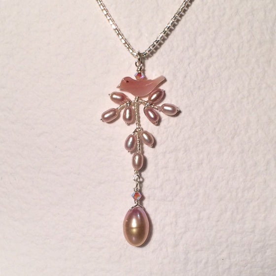 Pink Bird Branch Necklace