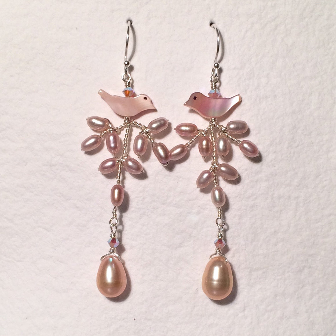 Pink Branch Bird Pearl Earrings