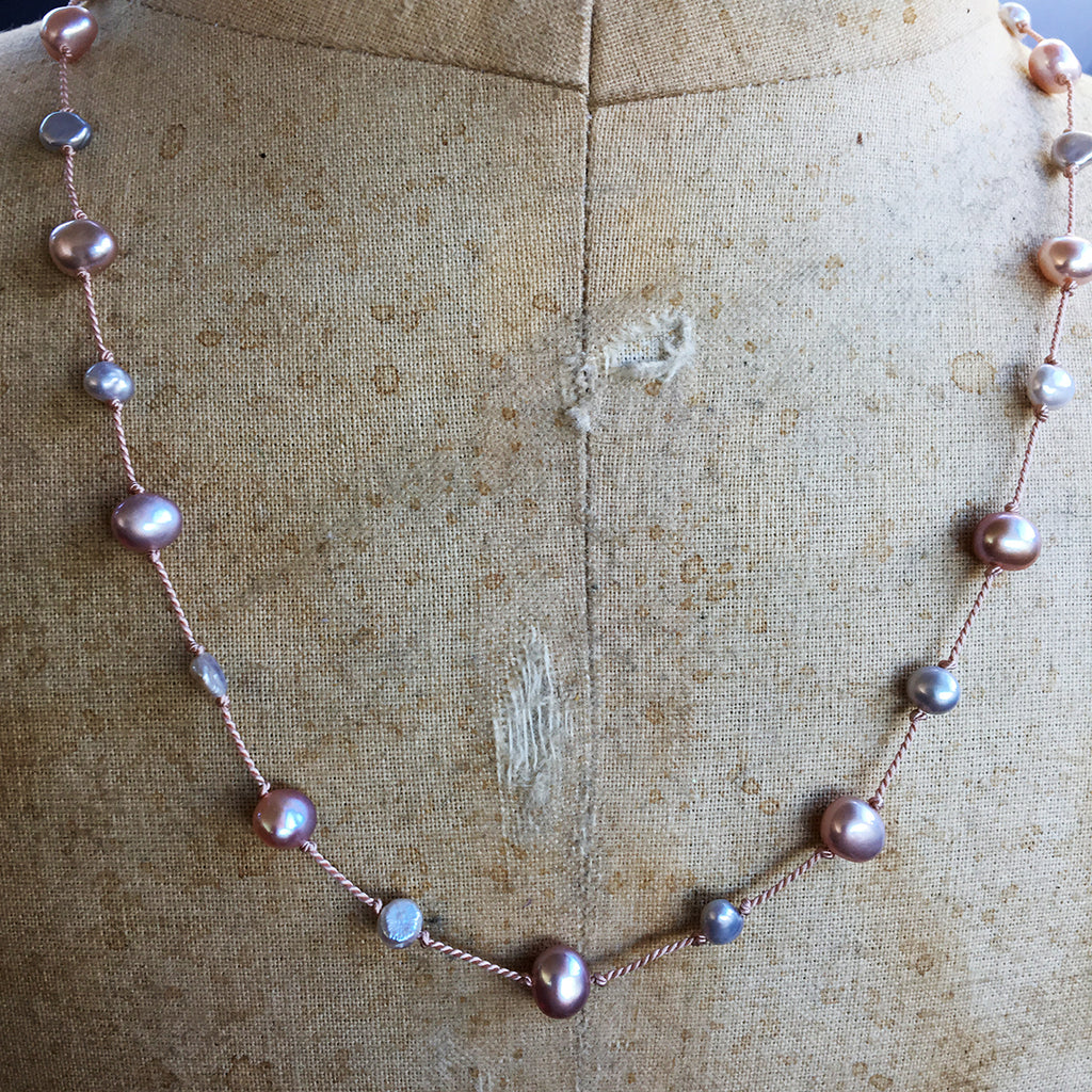 Pink and Grey Pearl Dotted Necklace