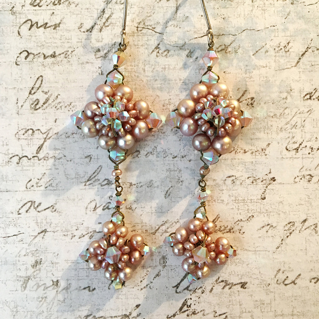 Pink Pearl and Sand Opal Double Earrings