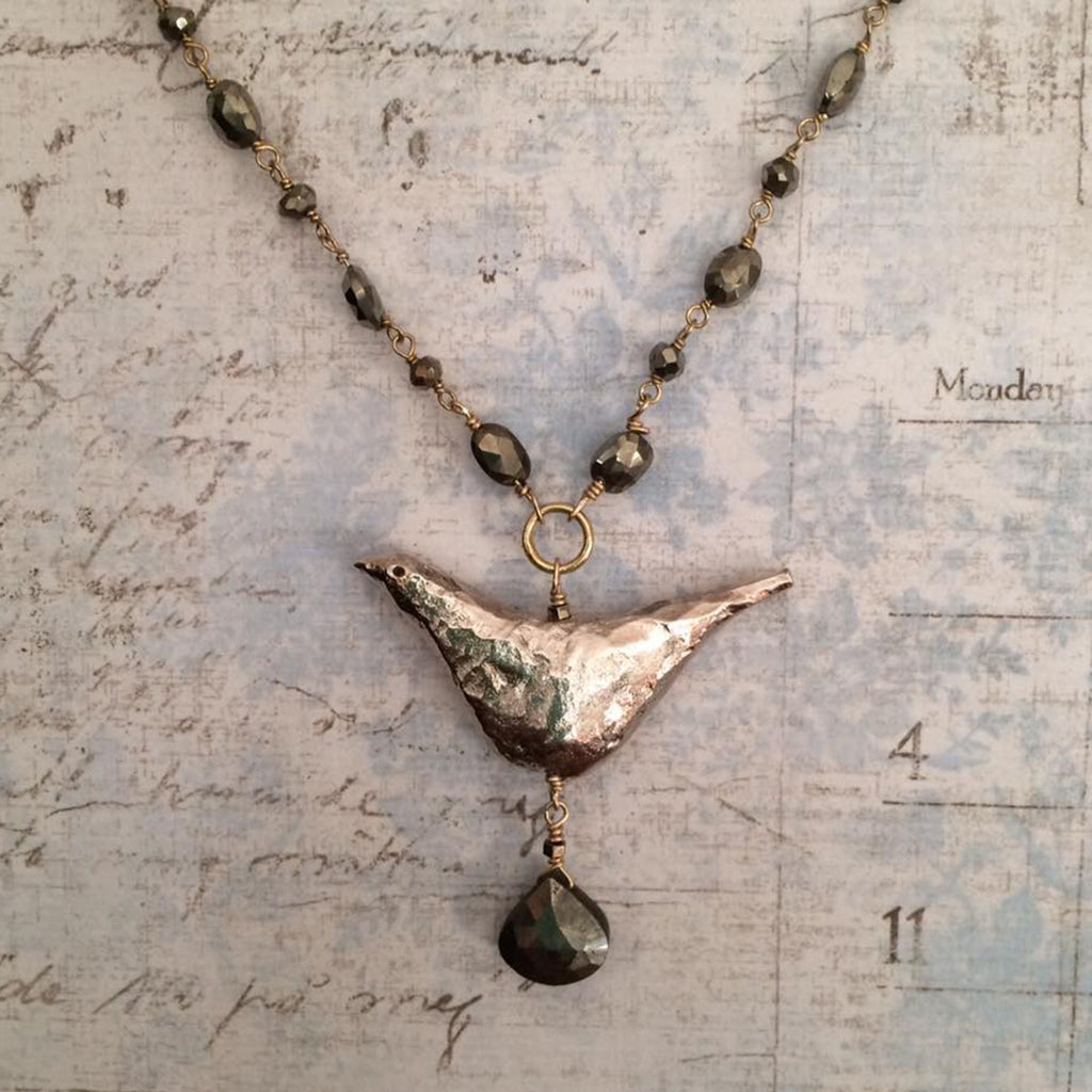 Pyrite Big Bird Necklace