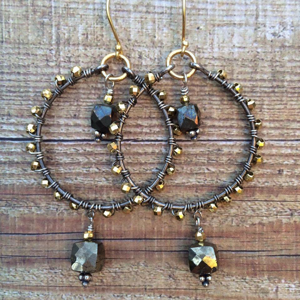 Pyrite Bohemian Hoop Earrings