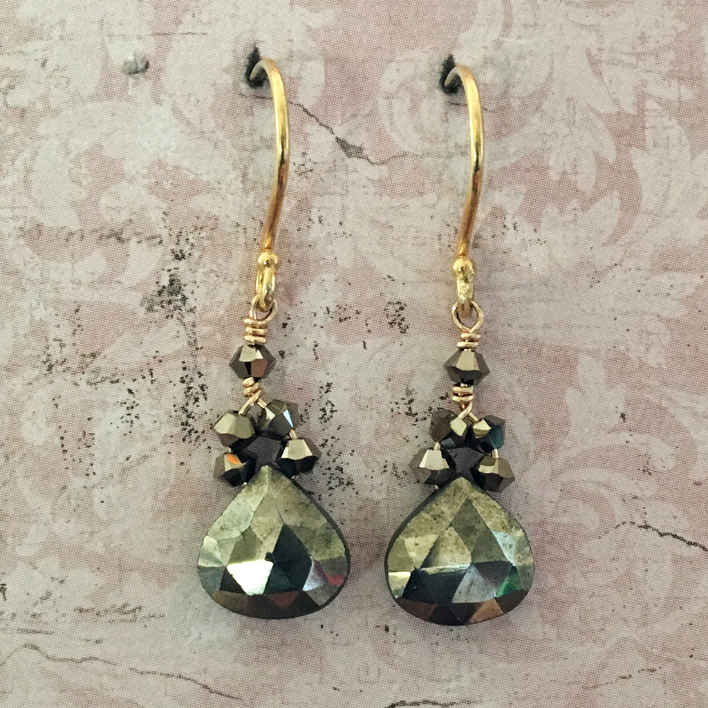 Pyrites Briolette Earrings
