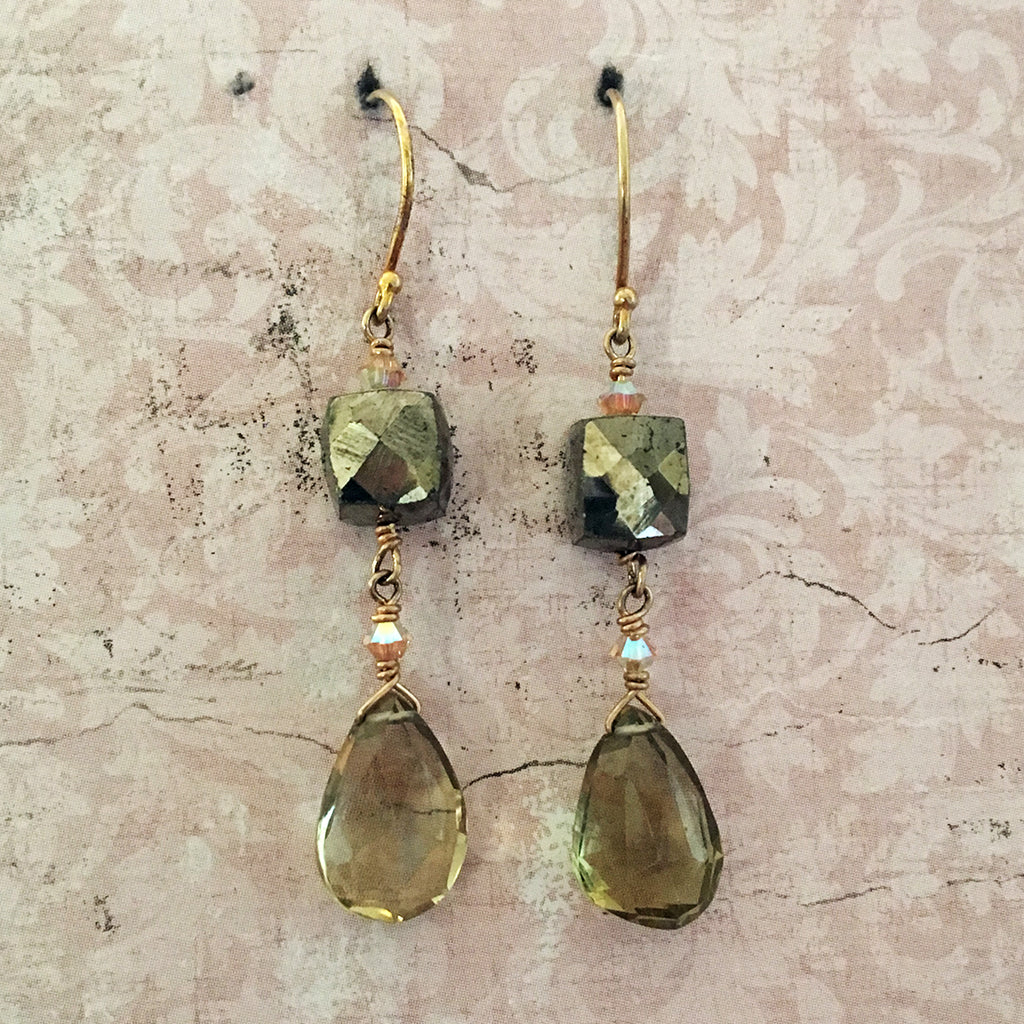 Pyrites Cube and Beer Quartz Briolette Earrings