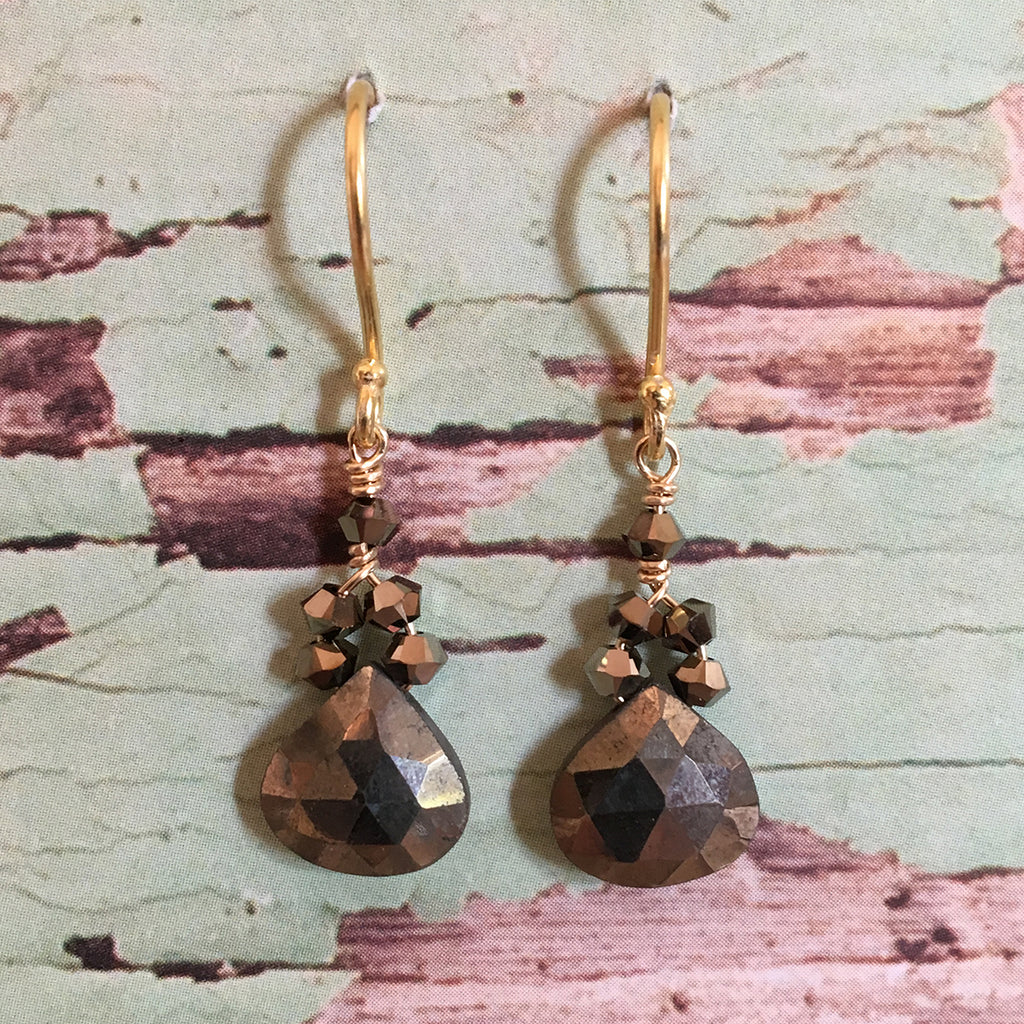 Pyrites and Crystal Earrings